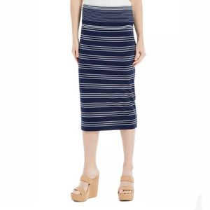 SOPHIE MAX Navy Striped Stretch Knit Midi Skirt